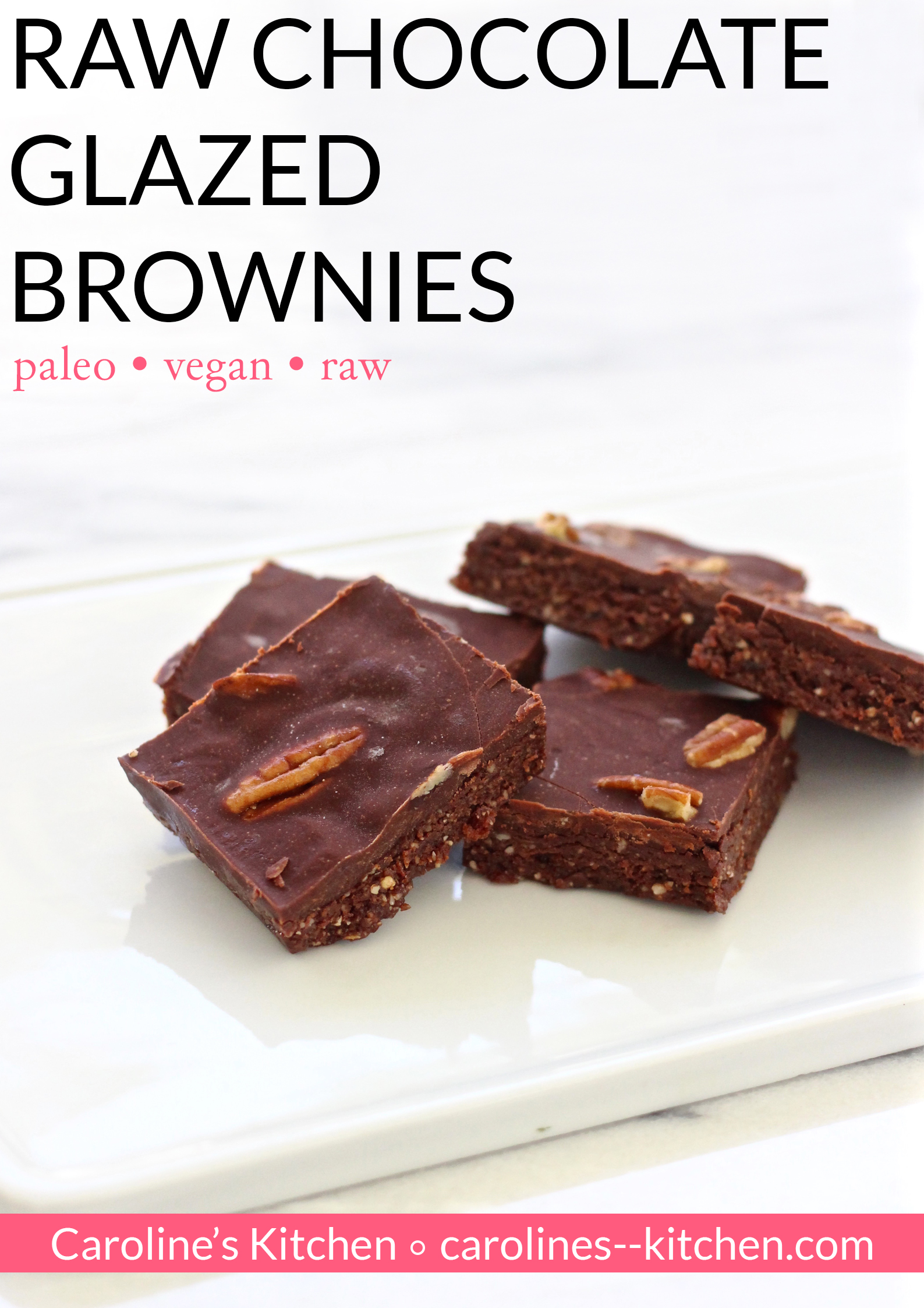 raw chocolate glazed brownies pin
