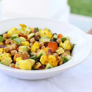 Massaged Kale and Sweet Roasted Vegetable Salad
