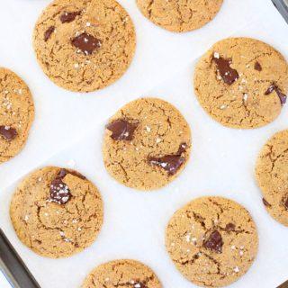 Dark Chocolate Chunk Cookies with Sea Salt (paleo + vegan)