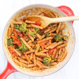 Broccoli and Pea Pasta with Cherry Tomato Sauce