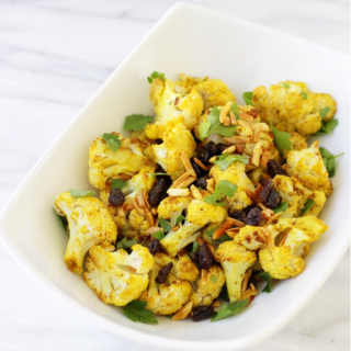 Curried Cauliflower with Almonds and Raisins