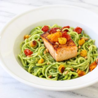 Seared Salmon with Zucchini Noodles in Avocado Arugula Sauce