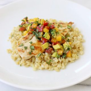 Grilled Chicken with Peach Salsa and Coconut Cauliflower Rice