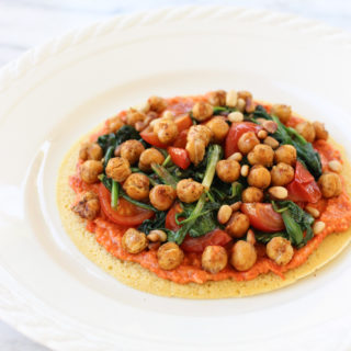 Socca Flatbread with Roasted Red Pepper Sauce and Crispy Chickpeas