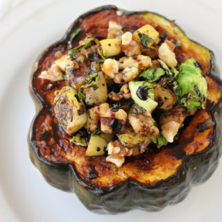 Turkey Vegetable Stuffed Acorn Squash with Reduced Balsamic