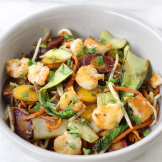 Soba and Sweet Potato Noodle Stir Fry with Shrimp